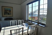 Views of the iconic Harbour Bridge from the dining table