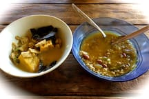 tofu and tempe curry and vegetable rice soup for lunch