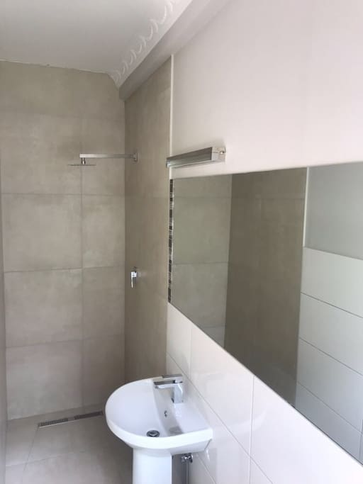 New bathroom with walk- in shower
