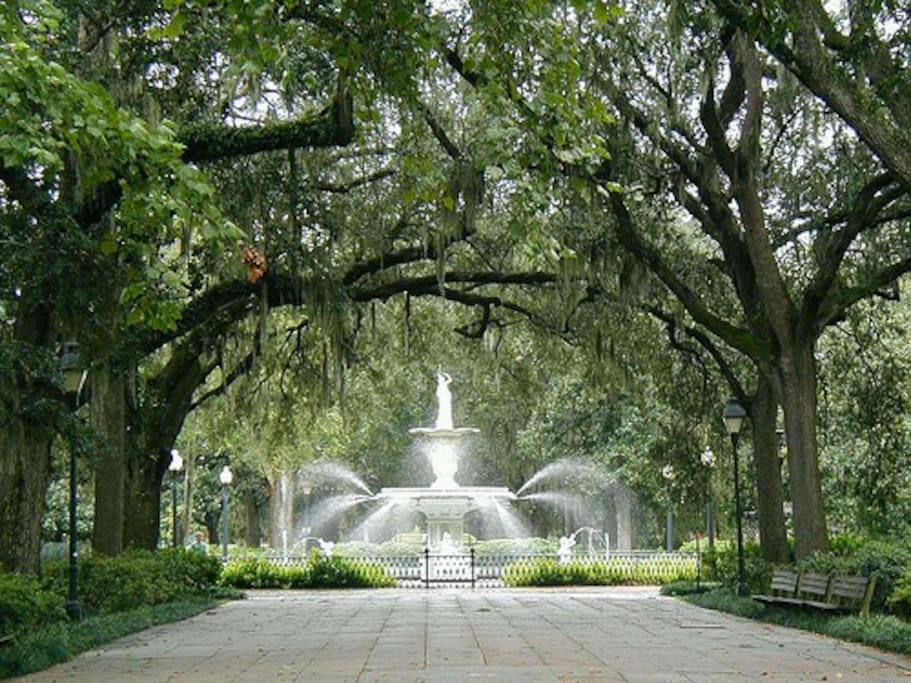 Forsyth Park, the cities largest and most beautiful park, only one block away