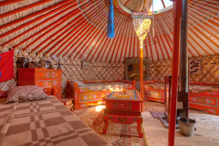 Mongolian yurt at the dyke of Elbe
