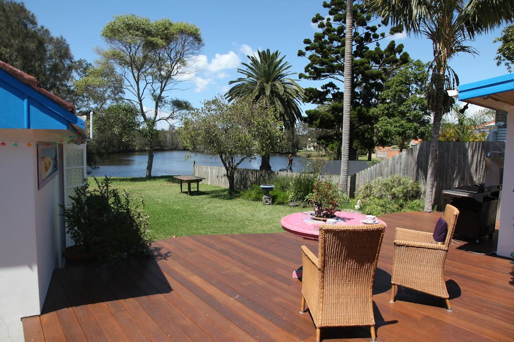 Deck, BBQ and  lagoon in background