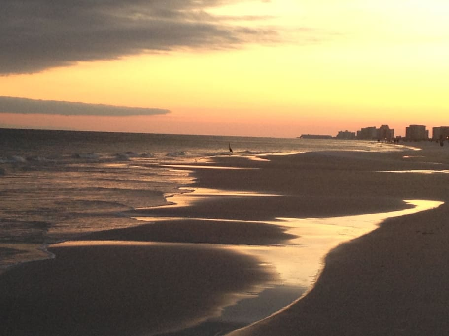 Beach across the street at sunset