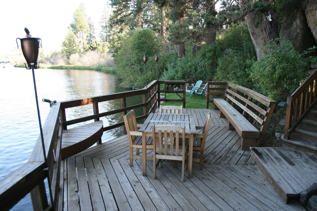 The only full-sized deck on the river in Bend!  Float to and from your home away from home.