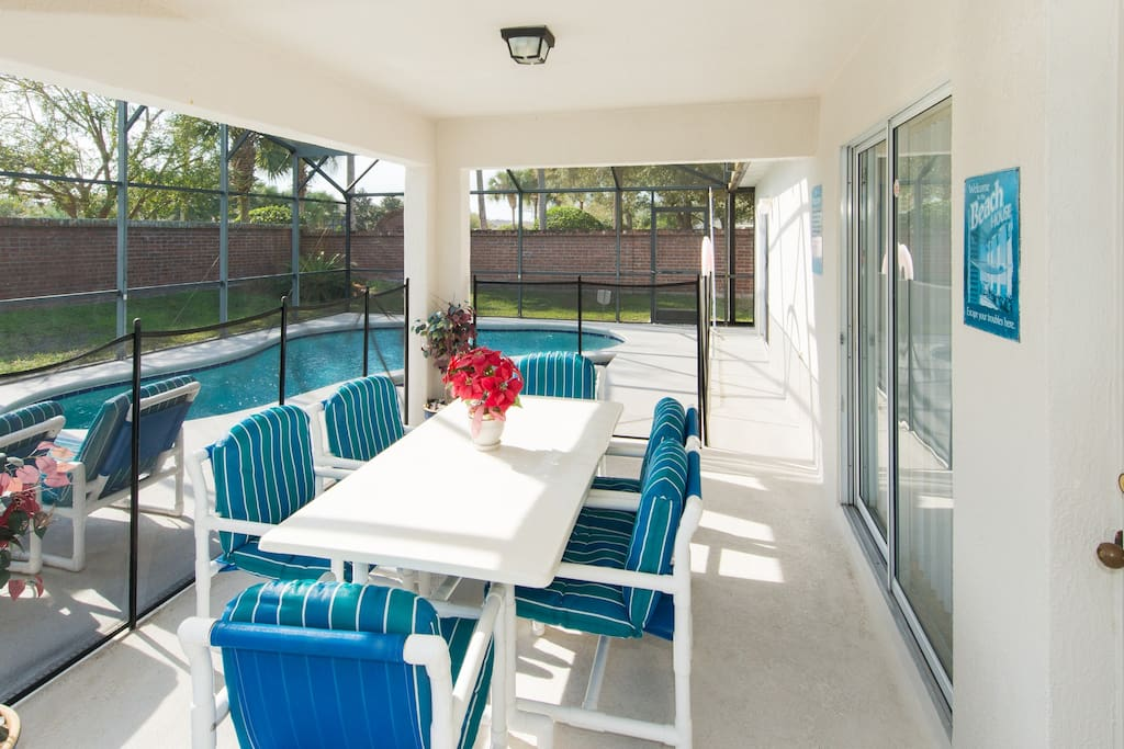 Shaded Lanai - great for outside dining.  Plenty of outdoor furniture
