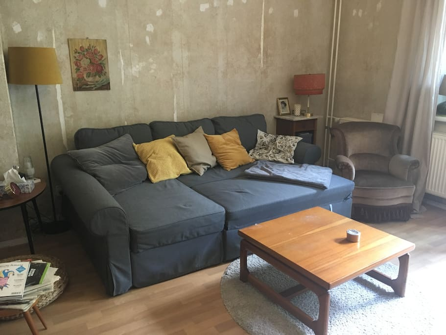 living room with bed couch
