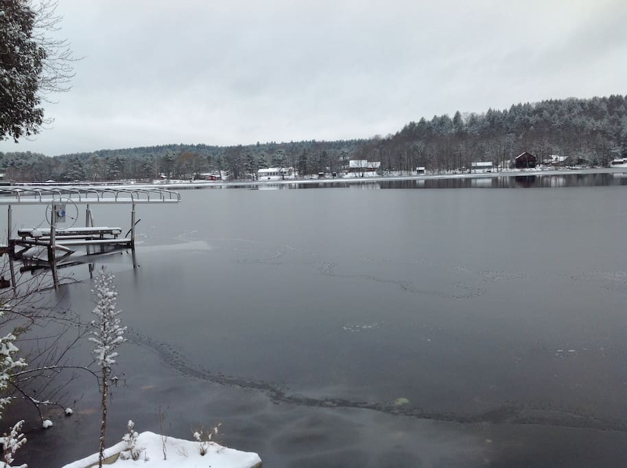 Lake view in the winter from the guest dock
