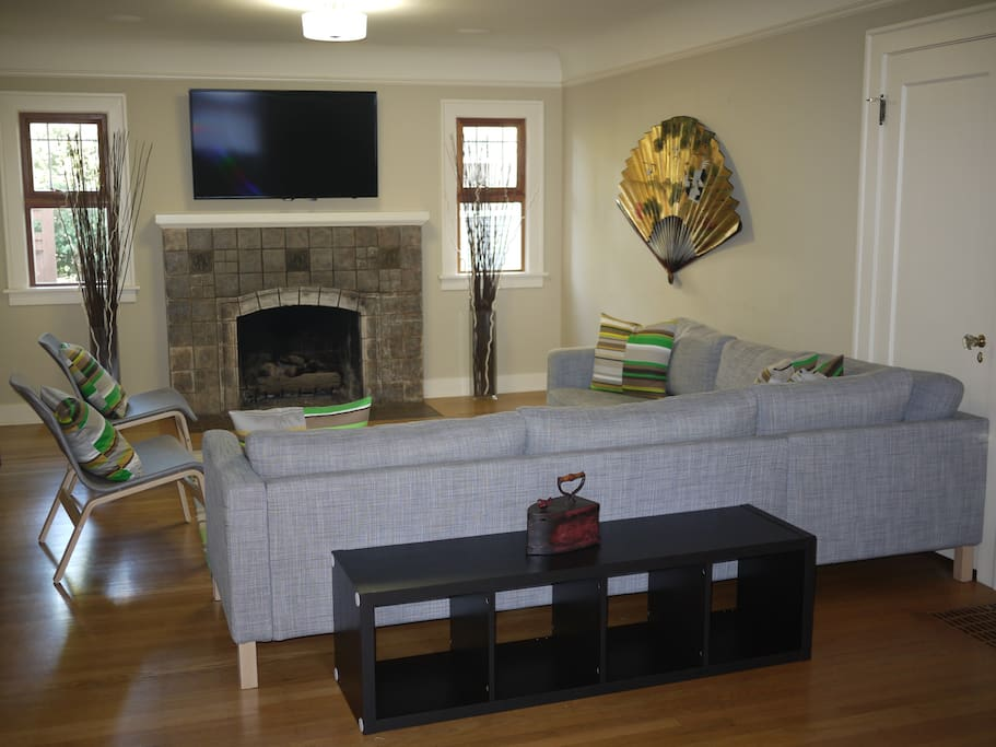 The spacious living room will comfortably host everyone staying in the house as you relax