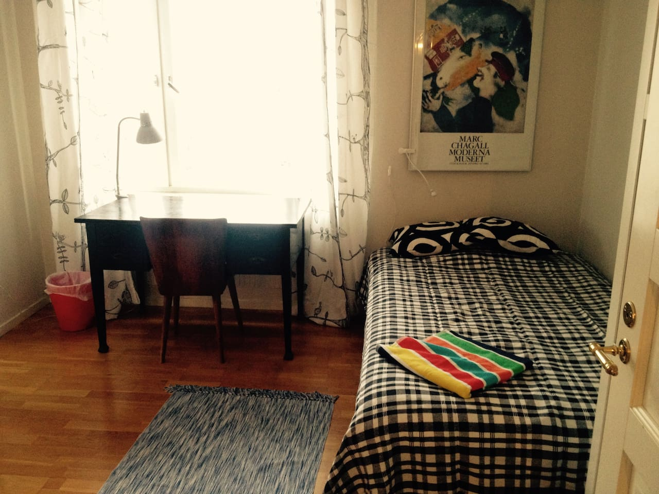 Comfortable bed for two. Workingplace, and free WiFi!