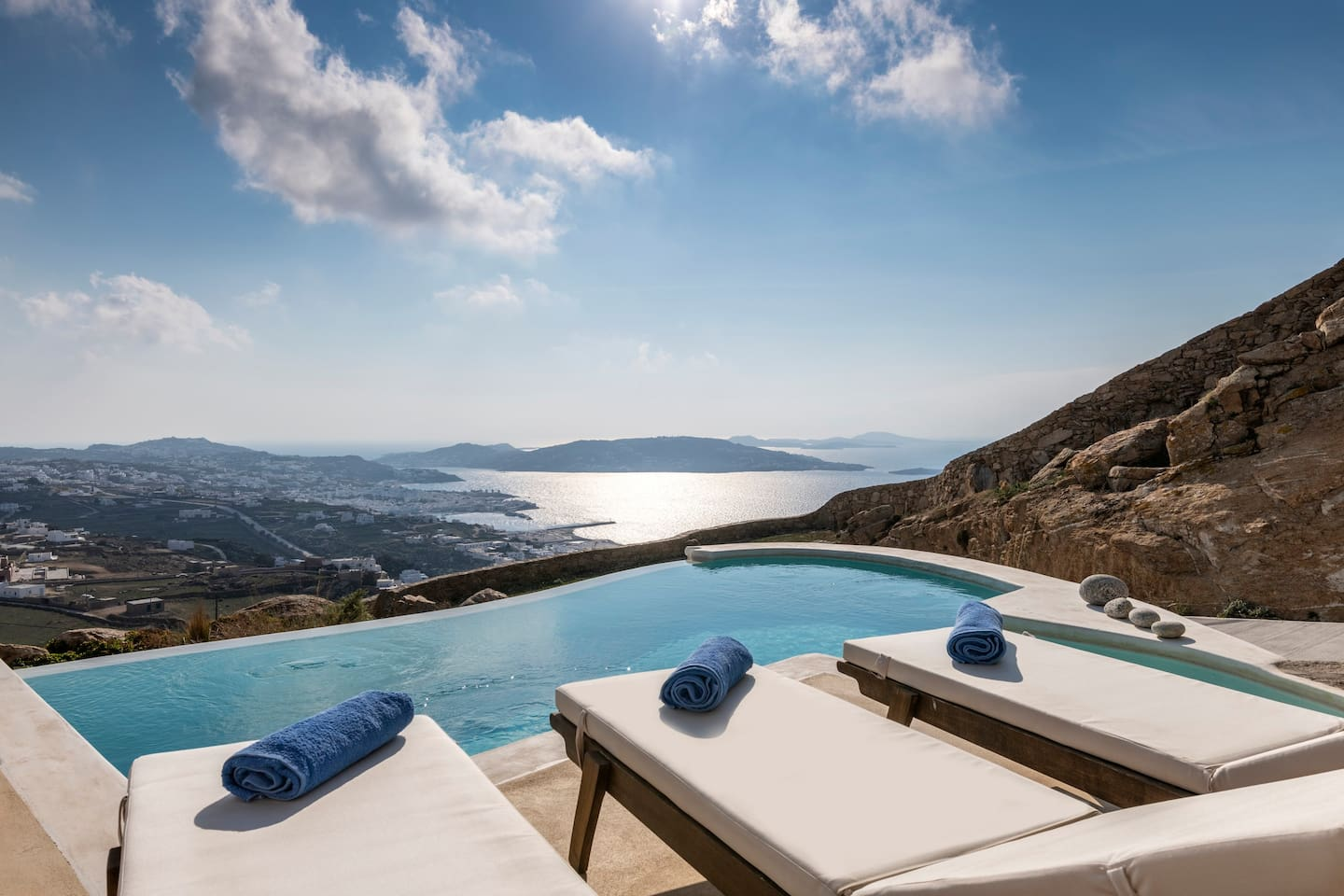 Sun Loungers - Private Pool -View to Aegean Sea and the Old Town.