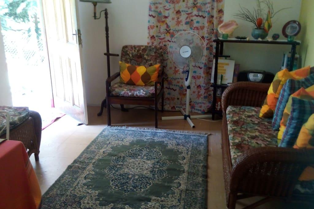 Living room with door open