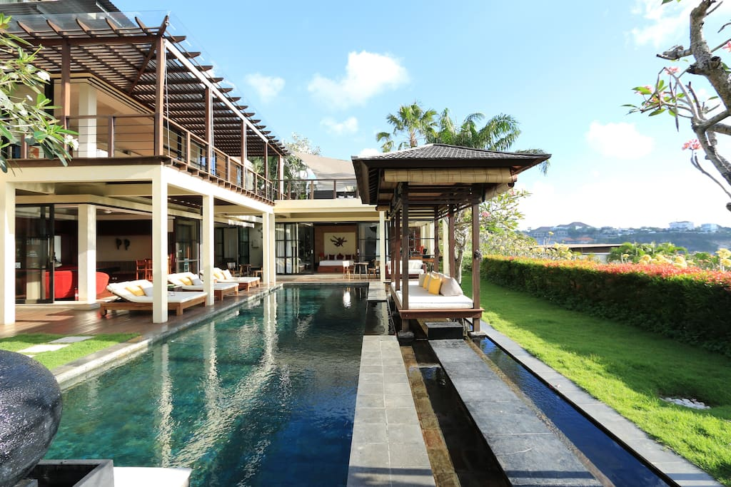 15m long pool with exclusive tiles