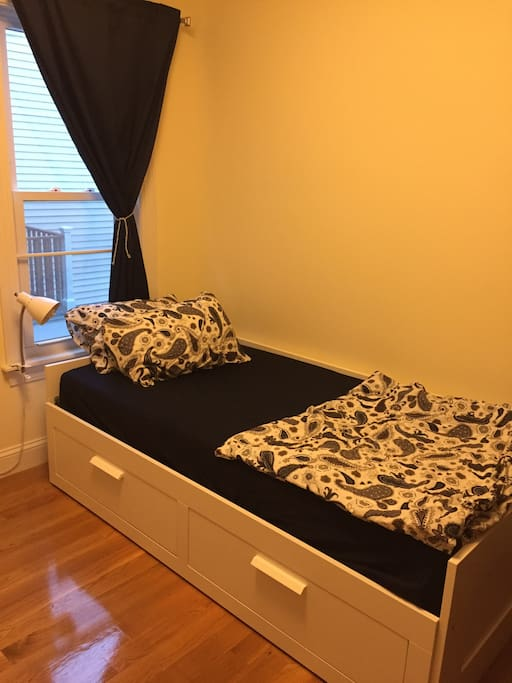 The bed can be used as a twin or pulled out to a king size