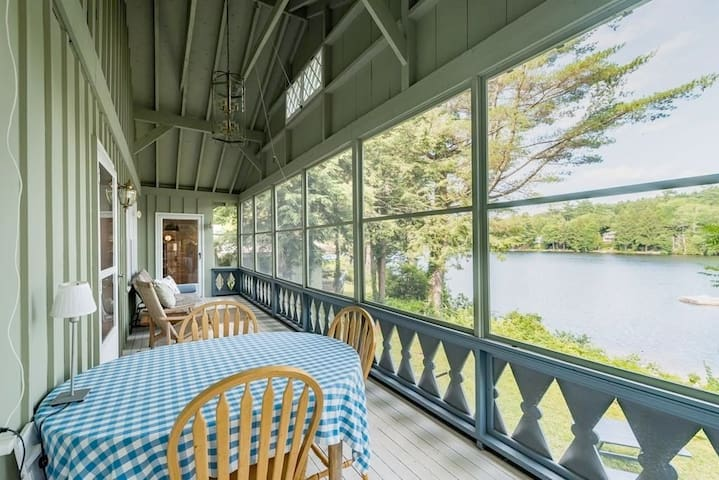 Back Porch overlooks the lake