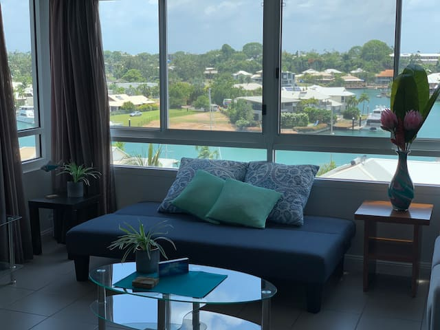 Marina views from every window in lounge, dining area and front bedroom