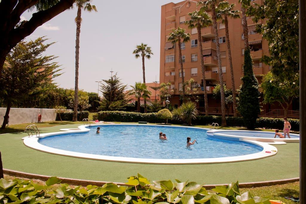 Habitaci n doble jard n y piscina apartamentos en for Piscina jardin valencia