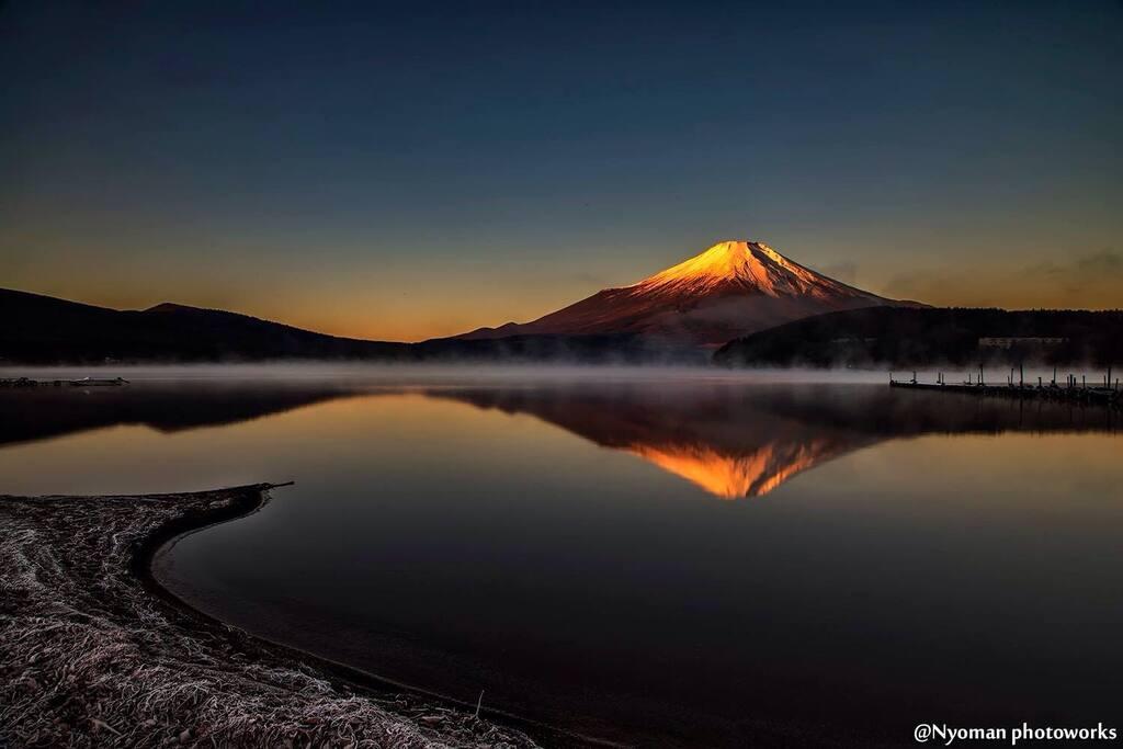 Another, early morning view of Fujisan from Kawaguchiko Lake.