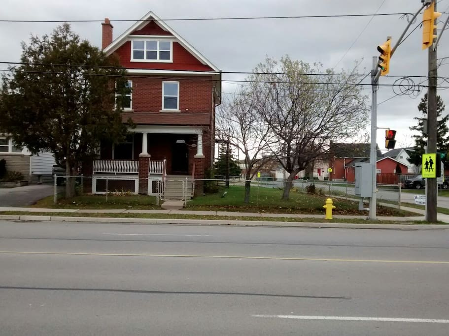 This is the house as seen from Kipling Ave. The Spring Forest room is on the second floor.