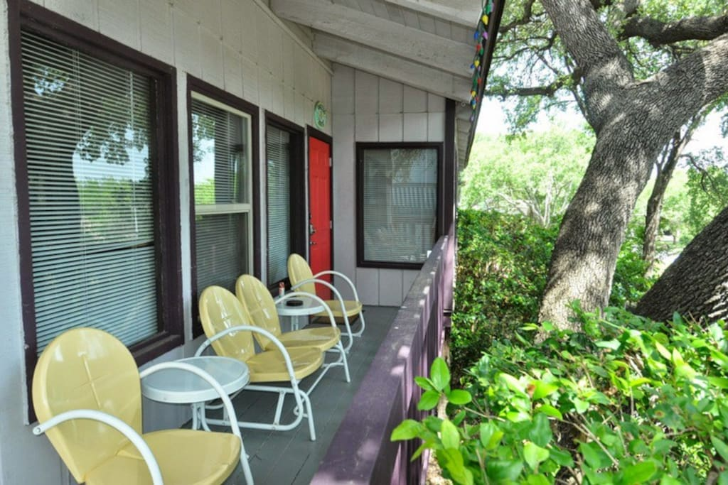 Enjoy the covered deck sitting in our glider or chairs