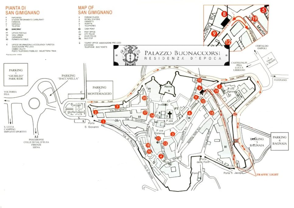Map for arrive at the Historical  Palazzo Buonaccorsi  with the car to leave your luggages. You need to look for direction parking 3/4,  to go on and  enter in the area of resident by the little gate medieval San Jacopo.  To  arrive in top of the street,  to  leave the car in front door.
