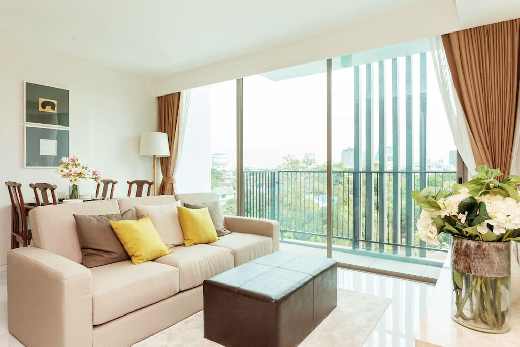 Bright living room with view