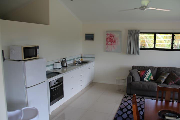 Full kitchen. Fridge, freezer, stove, microwave, kettle, toaster, coffee perculator