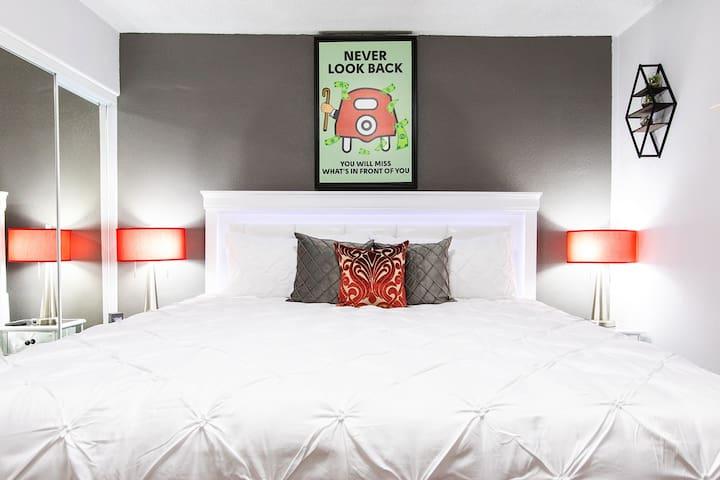 King size Bed & Plush pillows, You deserve it!