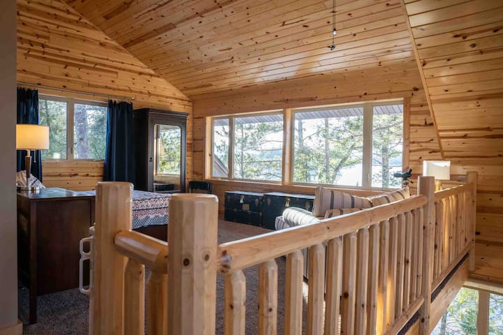 Imagine waking up in the loft bed overlooking the lake