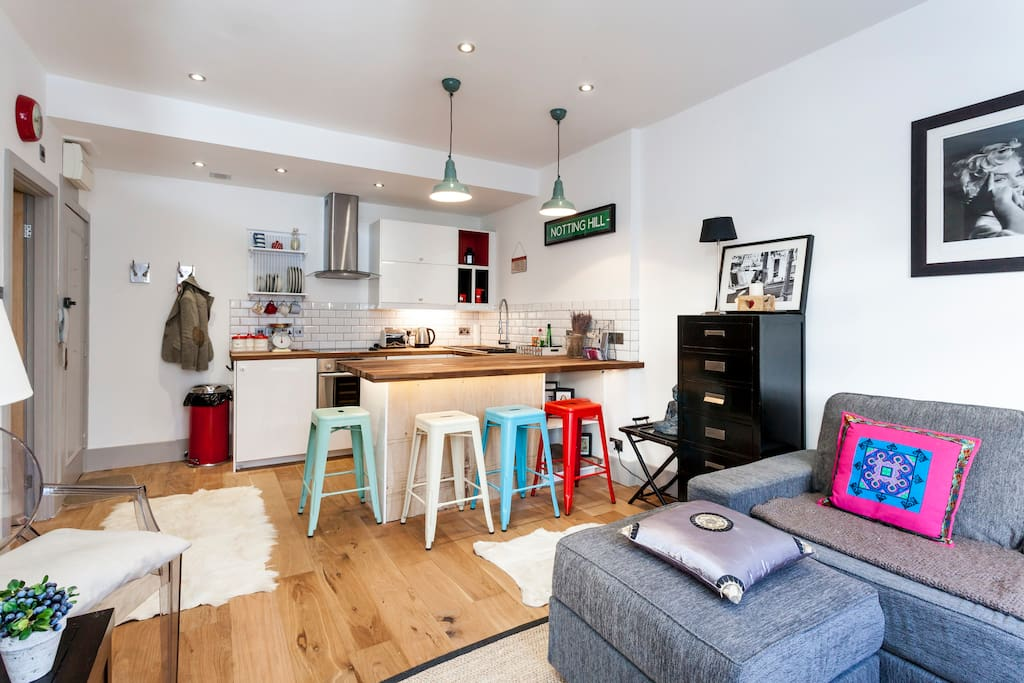 kitchen with breakfast bar and dining for 4