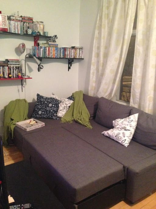 Living room with sofa bed opened