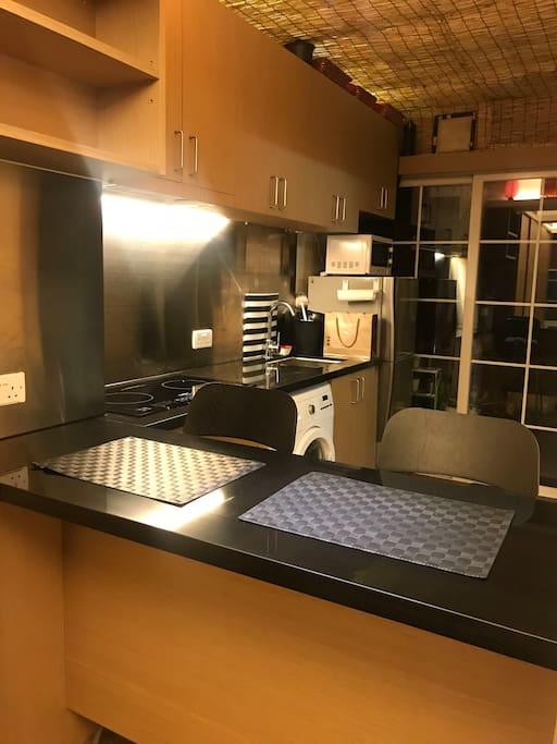 Spacious studio apartment with open kitchen