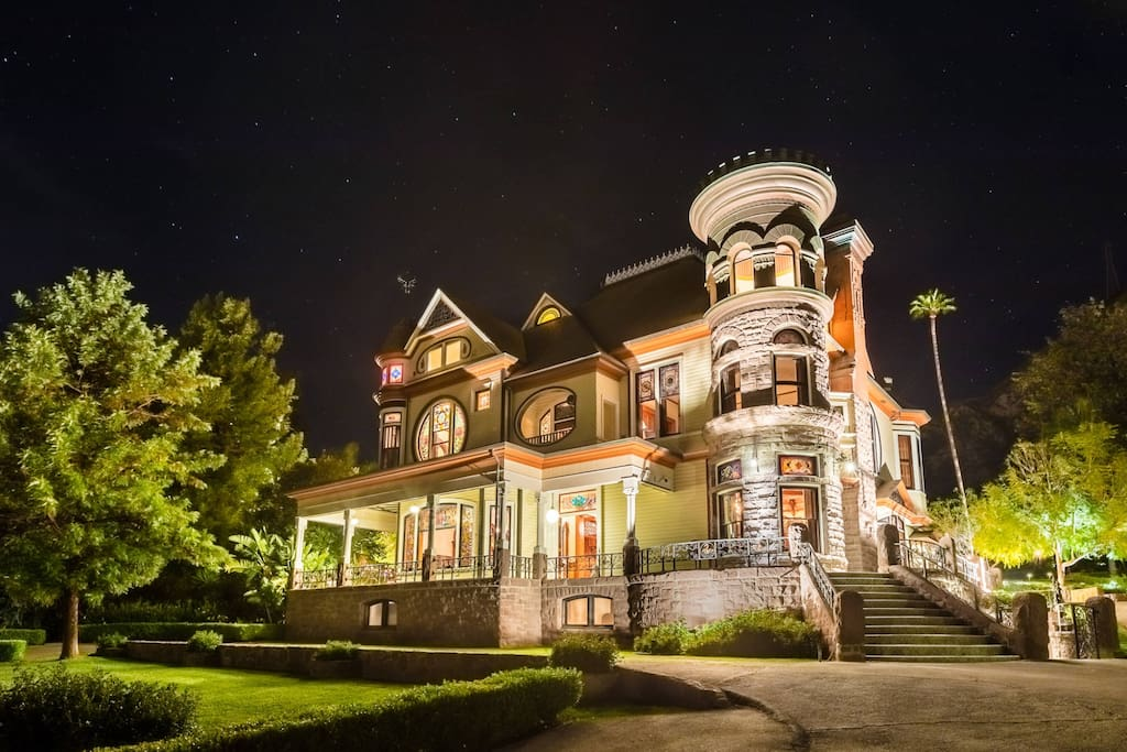 Newhall Mansion at Night