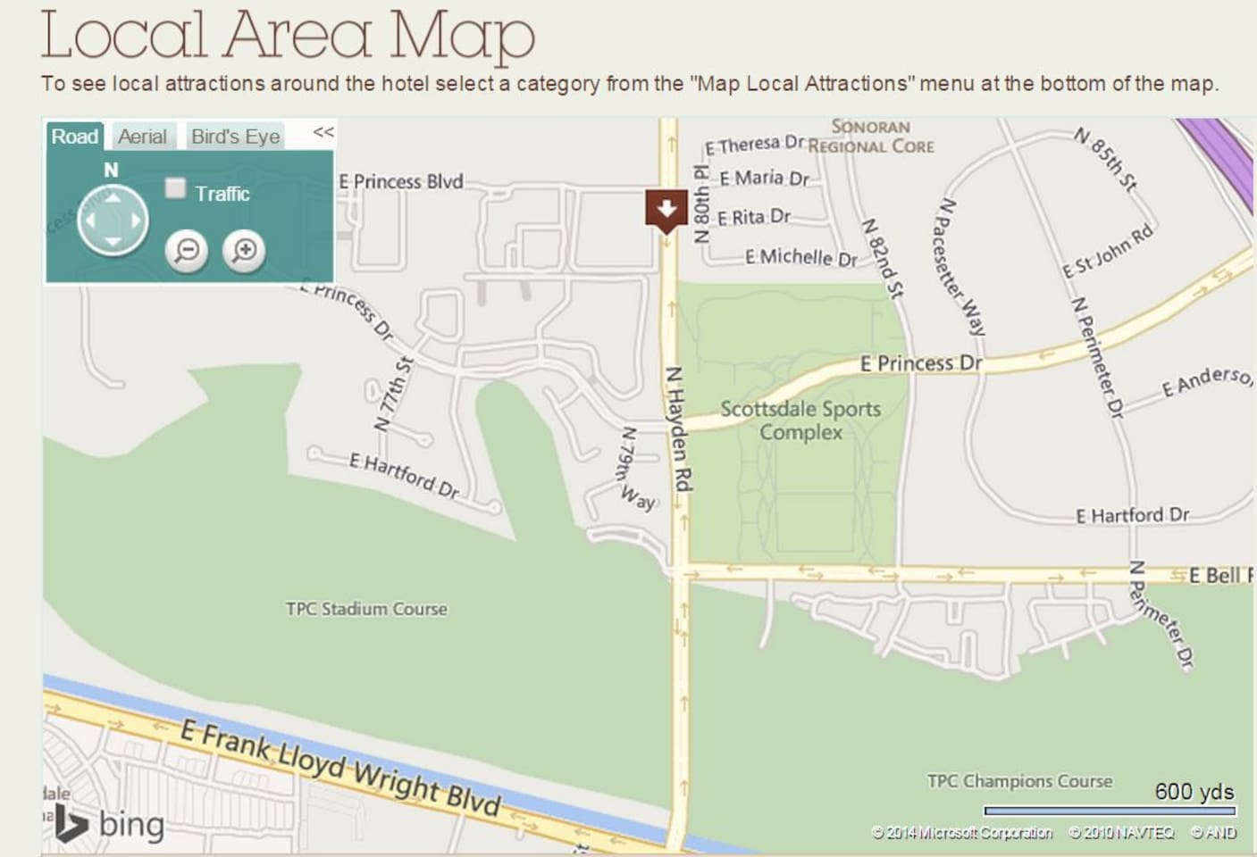This Map Illustrates the Walking Distance Proximity to the Phoenix Open and Birds Nest
