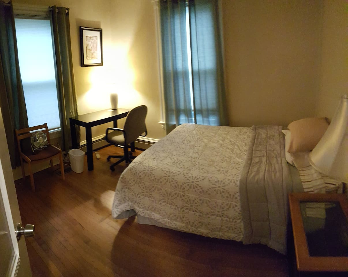 Large full size bed very comfortable, desk, closet and dresser