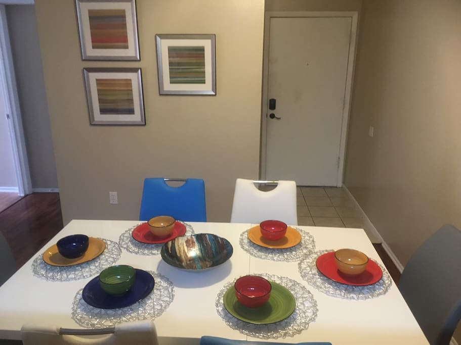 6 seat dining table Hi chair upon request