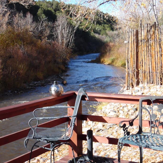 View looking west up the Pecos River from the deck