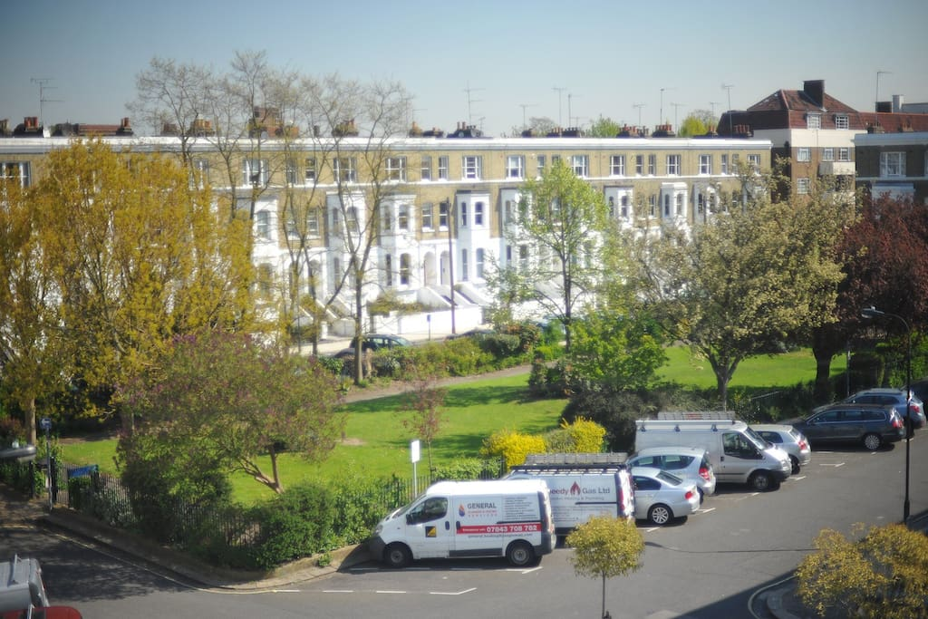 View from the living room window, you're looking over a private park within our Victorian square.