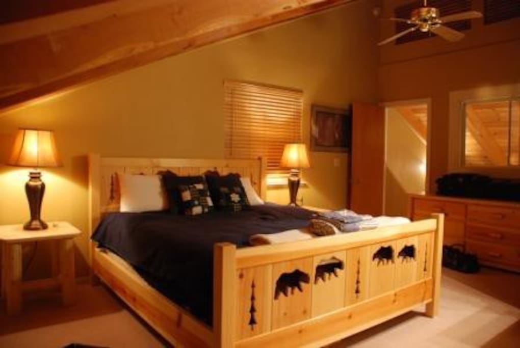 Spacious master bedroom w/ king bed and own bath.