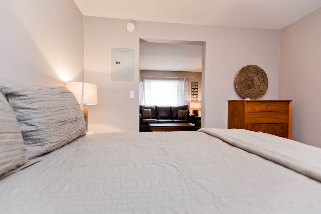 "Queen size bed. Beside the bed is a window AC/heater.   ""Great place to stay and feel like you have your own space while still being able to get everywhere you want to be quickly!"""