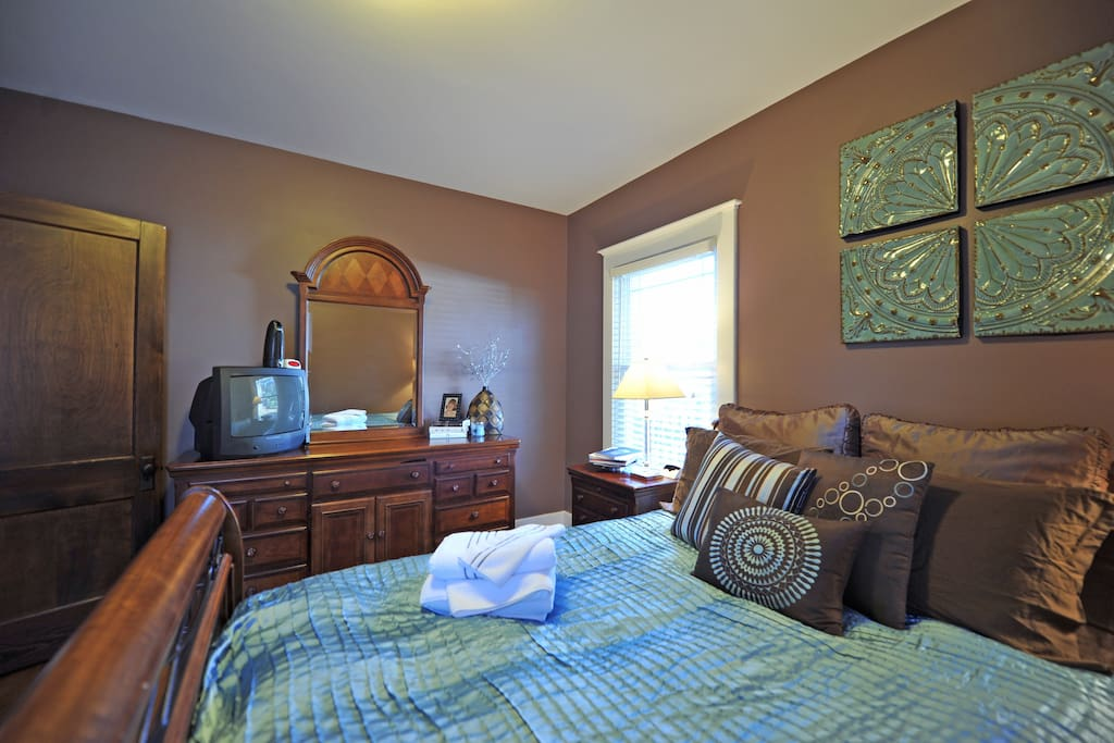 This is your bedroom, includes a TV with cable.