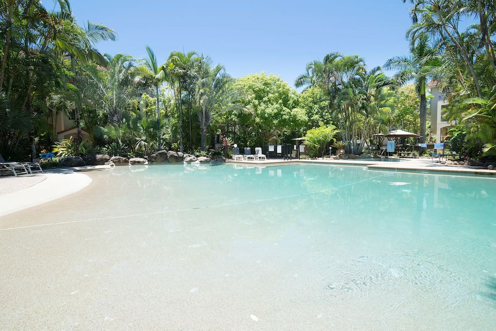 Have a swim or just cool down in the large lagoon-style pool!