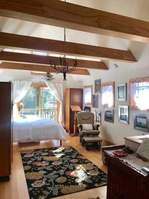 Main floor: large bedroom, full bath, & upper deck: lots of light & privacy!