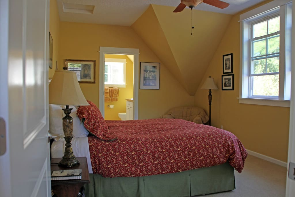 The Palermo Room has a queen bed, luxurious linens, a private bath and includes a full country breakfast for two. It can also accommodate 1 extra person for an additonal $50 including breakfast.