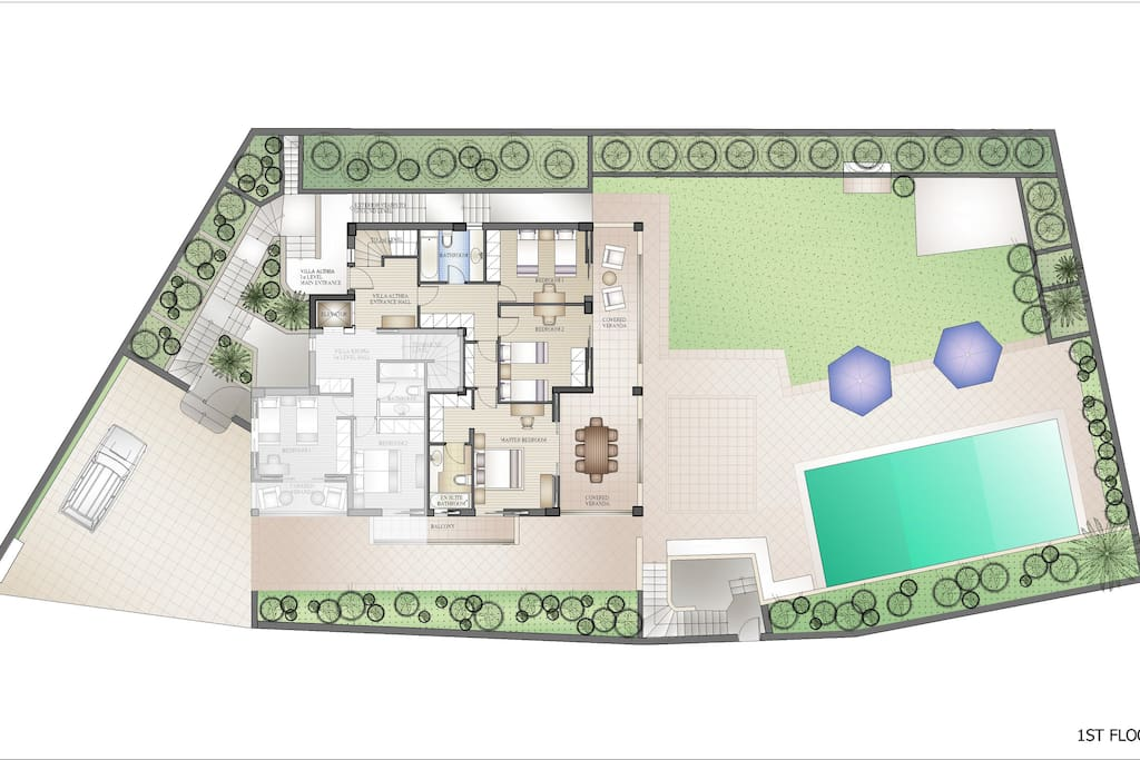 1st floor plan and exterior grounds
