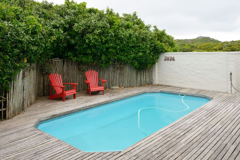 private swimming area with lounge area and pvc pool safety cover
