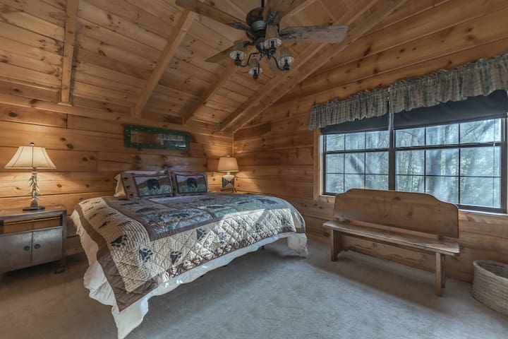 Upstairs master with king-sized SleepNumber, TV with DISH Network — and connected bathroom