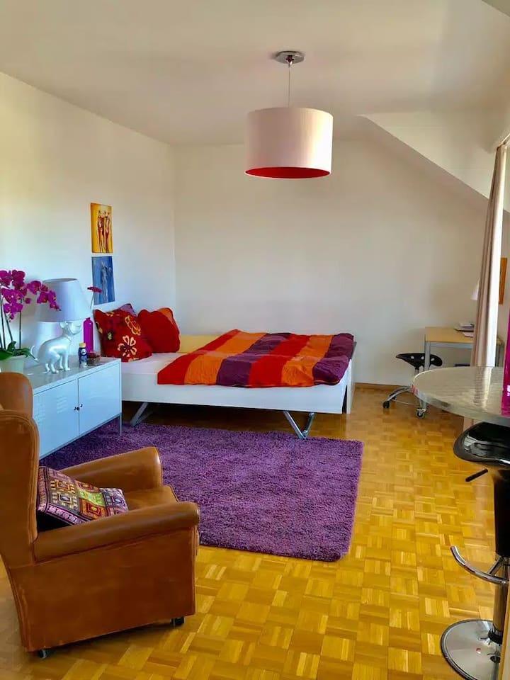 Wohnung mit Balkon,schöne Aussicht,Küche,Bad,Wifi