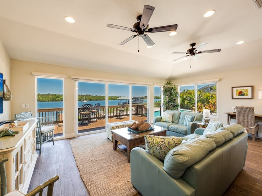 Comfortable living room opening out to deck