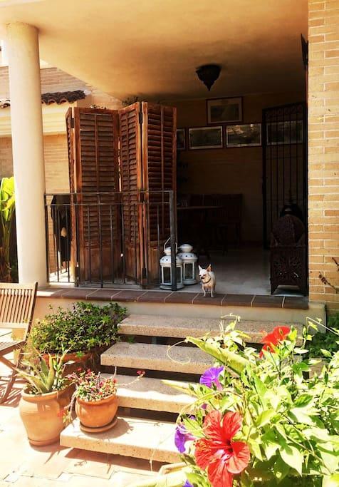Porchada con vistas al jardín y piscina donde puedes desayunar por las mañanas si lo deseas Porch overlooking the garden and pool