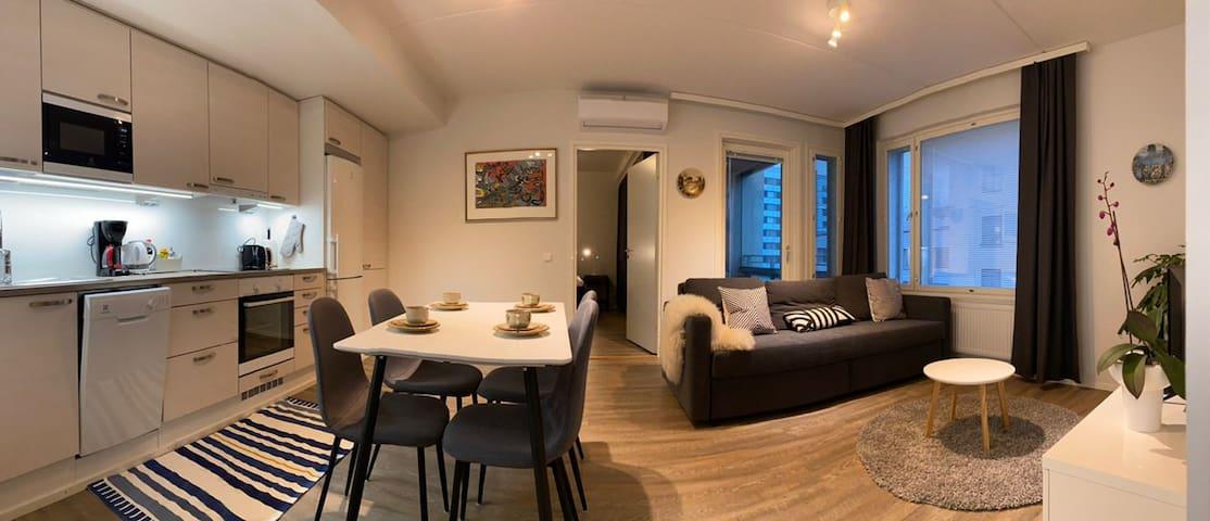 New apartment w/ AC, sauna,free parking,2 bedrooms